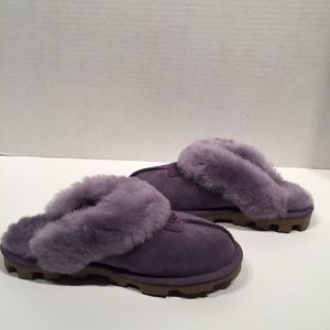 Ugg Coquette Purple Sage Suede Sheepskin Slipper